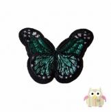 Applique papillon vert et noir à coudre