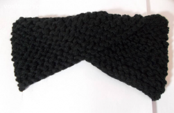 Bandeau croisé en laine matière acrylique noir