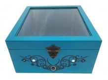 Boite en bois bleu tribal 25,6x26,7 cm