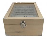 Boite en bois inclinée model clé musicale