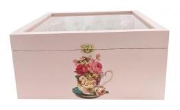 Boite en bois thé a la rose 31x31,5 cm