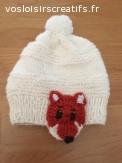 Bonnet enfants en laine avec renards