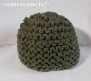 bonnet laine acrylique kaki, grosse épaisseur