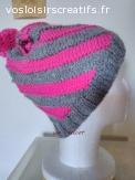 bonnet tourbillon laine et alpaga rose gris tricoté main