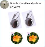 boucle d oreille cabochon en verre thème tropique 18 mm