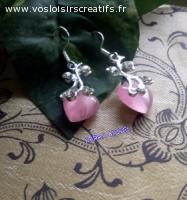 Boucle d'oreilles coeur rose
