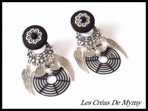 Boucles d'oreille a clips ailes d'ange filigrane acier noir