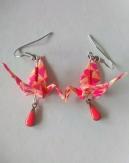 Boucles d'oreille grue en origami