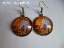 boucles d'oreilles bronze cabochon cheval