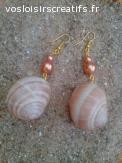 Boucles d'oreilles coquillages escargots pailletés