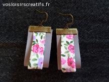 Boucles d'oreilles  cuirs et fleurs liberty