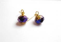 Boucles d'oreilles doré verre applaties facette violet-prune