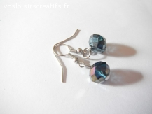 Boucles d'oreilles en perles acrylique gris bleuté