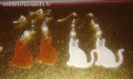 Boucles d'oreilles en plastique dingue / fou : chats