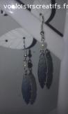 Boucles d'oreilles en plastique dingue / fou : plumes