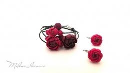 Boucles d'oreilles et bracelet Red buttercups