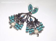 Boucles d'oreilles  Ethnique perles en turquoise