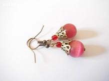 Boucles d'oreilles oeil de chat et boheme, fuchsia, rouge