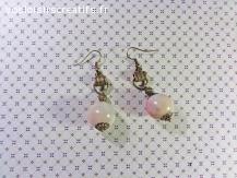 Boucles d'oreilles pendante en métal bronze et perle en fimo