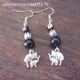 Boucles d'Oreilles Pendante Métal Argenté Eléphants