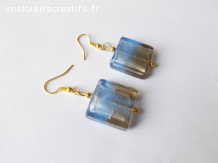 Boucles d'oreilles pendantes perles verre bleu, marron