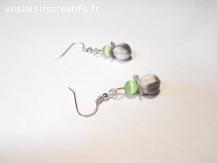 Boucles d'oreilles pendantes perles verre boheme multicolore