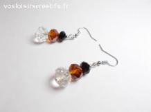 Boucles d'oreilles perles acrylique transparent marron noir