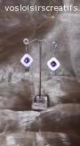 Boucles d'oreilles perles carré blanches