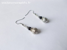 Boucles d'oreilles perles métal filigrane