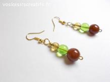 Boucles d'oreilles perles verre marron vert ocre