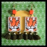 Boucles d'oreilles tigres et pompons