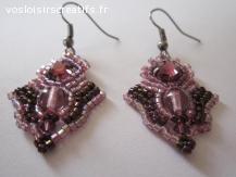 Boucles d'oreilles tissées Topkapi rose et améthyste