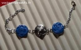 Bracelet bleu et argenté