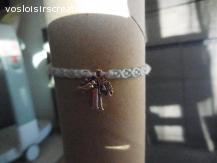 Bracelet brésilien arbre et oiseau bleu ciel et blanc