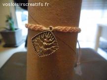 Bracelet brésilien arbre rose clair et blanc