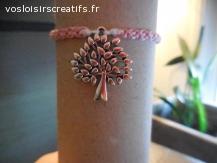 Bracelet brésilien arbre rose et blanc