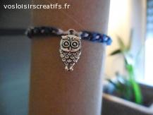 Bracelet brésilien chouette bleu et blanc
