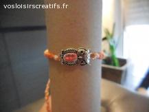 Bracelet brésilien chouette orange et blanc
