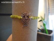Bracelet brésilien chouette vert et blanc