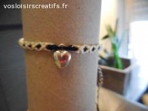 Bracelet brésilien coeur blanc cassé et noir