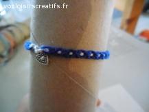 Bracelet brésilien coeur bleu et blanc