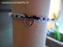 Bracelet brésilien coeur bleu et noir