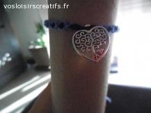 Bracelet brésilien coeur et arbre violet et noir
