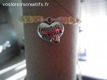 """Bracelet brésilien coeur """"favorite teacher"""" jaune et blanc"""