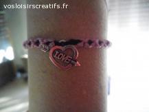 Bracelet brésilien coeur love rose et noir