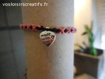 Bracelet brésilien coeur made with love rose et noir