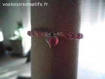 Bracelet brésilien coeur rose et blanc