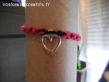 Bracelet brésilien coeur rose et noir