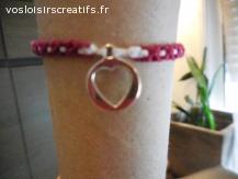 Bracelet brésilien coeur rouge et blanc