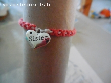 Bracelet brésilien coeur sister rose et blanc